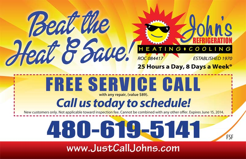 Beat the Heat with John's Refrigeration. Schedule a FREE service call today.